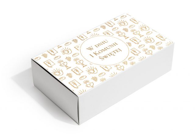 Pudełko z krówkami na Pierwszą Komunię Świętą