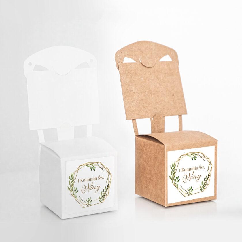 Pudełko krzesełkowe z krówkami Pierwsza Komunia Święta