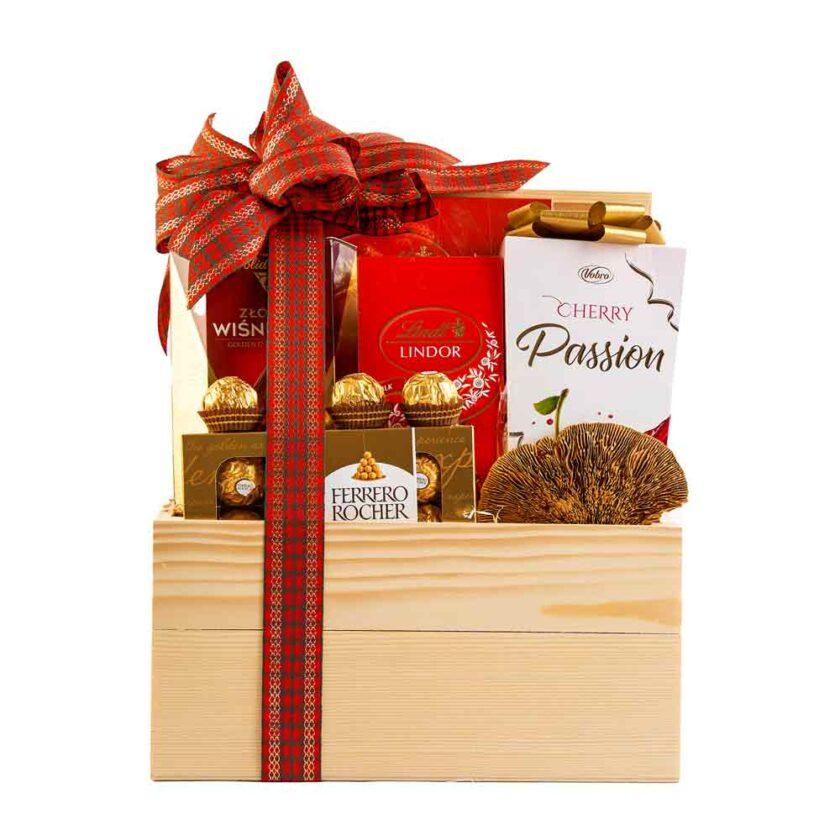 Kosz, skrzynia ze słodyczami Lindt&Ferrero Rocher