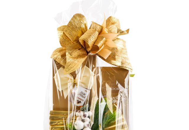 Kosz świąteczny z czekoladkami Lindt i pralinami