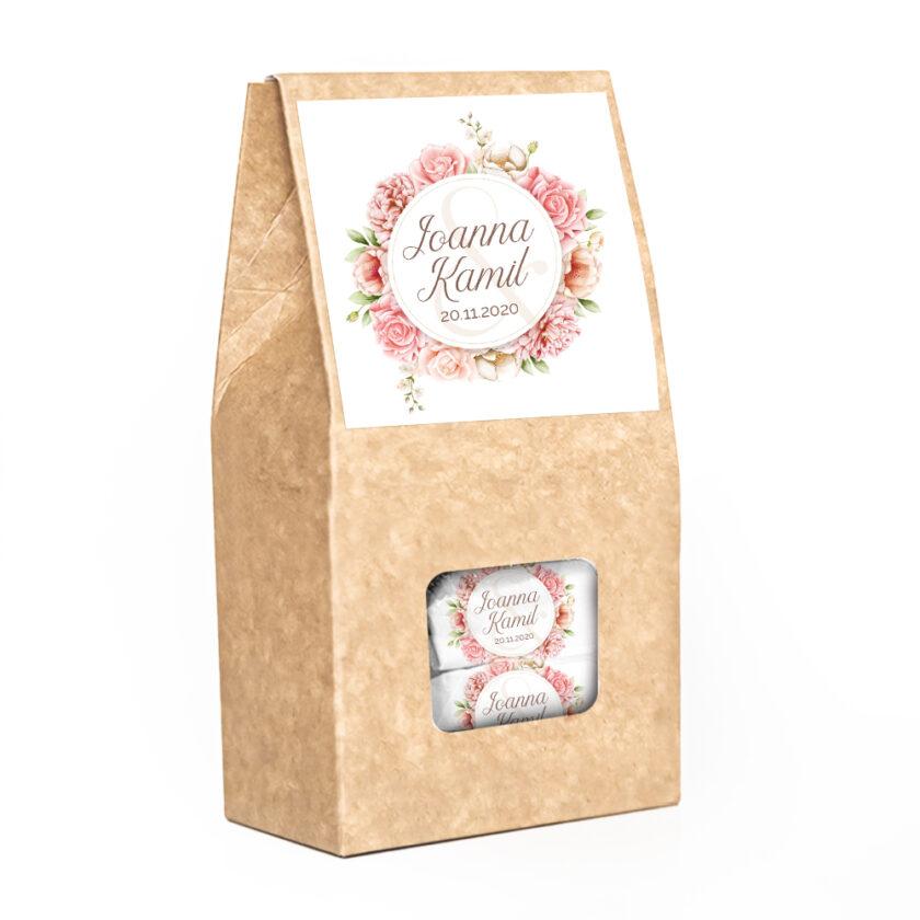Zestaw pudełek z krówkami dla gości weselnych