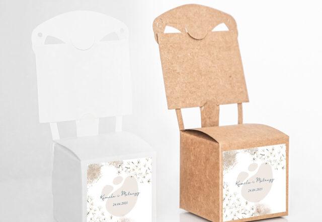 Pudełko krzesełkowe dla gości weselnych